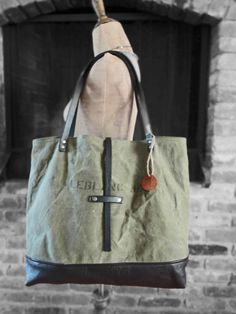 FRENCH MILITARY TOTE Black Leather & Canvas Large Tote Bag Carry All Weekender