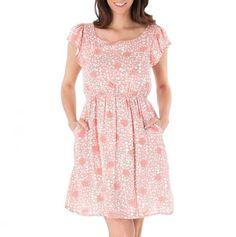 Flutter Sleeve Elastic Waist Dress, pink
