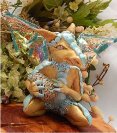 Blue & Gold Dragon Goblin with Egg OOAK Fairy by britpoprose99