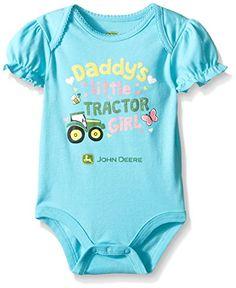 John Deere Baby Daddy's Tractor Girl Bodyshirt #Tractors #Farmer #TractorGirl…