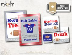Football Baby Shower Table Signs : Babies Are Sweet by MKKMDesigns