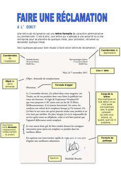 lcrit une lettre de rclamation est une lettre formelle de caractre administrative ou