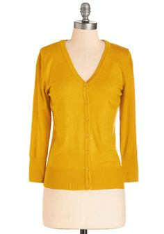 Charter School Cardigan in Honey. Show your style smarts in this versatile cardigan! #yellow #modcloth