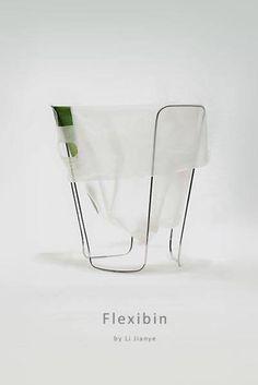 Metal frame for garbage bags or storage in minimalist style is created by Chinese product designer Li Jianye Bench Furniture, Design Furniture, Design Presentation, Bin Bag, Workspace Design, Garbage Can, Design Poster, Trash Bins, Can Design