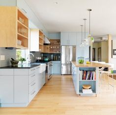 Kitchen Colors: Pale Blue & Grey For a Light Kitchen That Isn't White! — Kitchen Inspiration