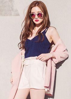 korean fashion casual street pale pink cardigan dark blue navy shirt white shorts