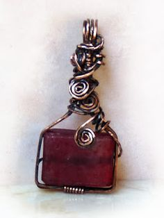 wire wrapped recycled glass pendant. Recycled Glass Pendant With Copper Wire-wrap. Wire Wrapped R