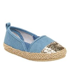 Love this Blue & Gold Glitter Sadie Espadrille on #zulily! #zulilyfinds