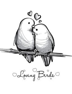 cute animals to draw Coloriage st Valentin love bird imprimer carte. Site pour imprimer des coloriages et gestion du stress. Free Printable coloring page! Pencil Art Drawings, Art Drawings Sketches, Bird Drawings, Easy Drawings, Animal Drawings, Drawing Drawing, Drawing Tips, Cute Drawings Of Love, Drawing Ideas