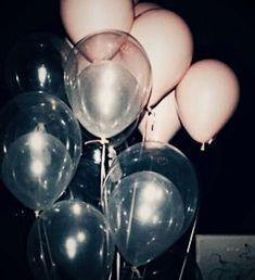 pink and clear balloons.