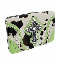 Lime Green Cowprint Cross Wallet  #HBM #Clutch