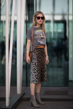 leopard skirt | Best Street Style Outfits from Milan Fashion Week Spring 2017