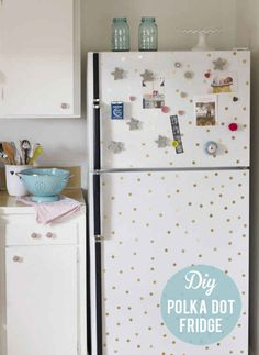 Give your fridge a polka-dot makeover with contact paper dots. | 21 Adorable DIY Projects To Spruce Up Your Kitchen