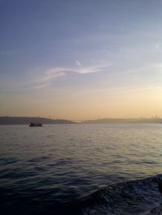 Sunset looking over Bosphorus from Yenikoy Istanbul
