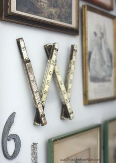 """Thoughts from Alice: Vintage Eclectic Gallery Wall - Vintage ruler turned into the letter """"W"""" for family name and adding items of sentimental value to a gallery wall."""