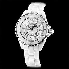 Women's Diamond Dial Black Hands Ceramic Analog Quartz Wrist Watch (Ivory White Band)
