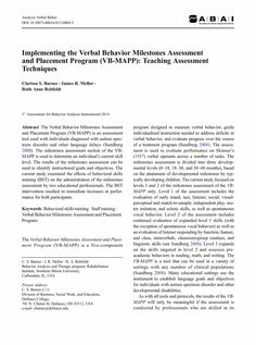 Implementing the Verbal Behavior Milestones Assessment and Placement Program (VB-MAPP): Teaching Assessment Techniques