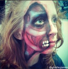 Exposed Muscle #facepaint #bodyart #makeupbymarley