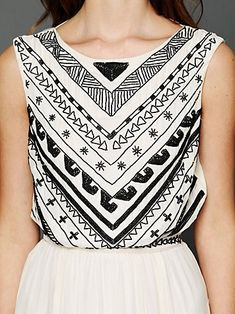 engineered beading, Free People... BUT this could make a great DIY with a top and fabric paint