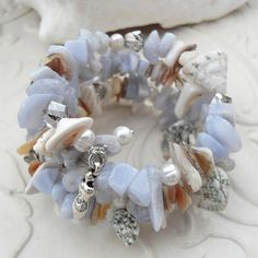 Gemstone wrap bracelet blue lace agate with sea shells and pearls.