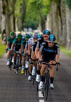 Bernhard Eisel of Austria riding for Sky Procycling drives the peloton for Bradley Wiggins of Great Britian riding for Sky Procycling in the race leader's yellow jersey in stage ten of the 2012 Tour de France from Macon to Bellegarde-Sur-Valserine on July 11, 2012 in Macon, France.  (July 10, 2012 - Source: Doug Pensinger/Getty Images Europe)