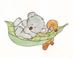 Nursery art watercolour painting ORIGINAL 5 x 7 Koala and Platypus