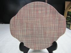 SALE! was 12.00 Vintage Royal Underglaze Mid Cent Mod Plate with Handles in Pink and Gray
