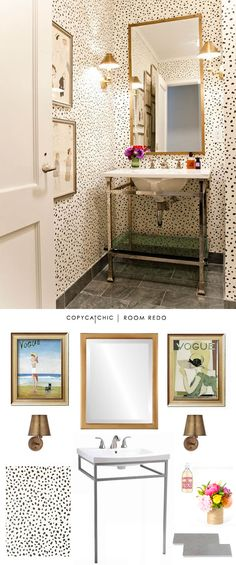 A chic leopard print bathroom designed by @lillybunn and recreated for $1,094 by @lindseyboyer for Copy Cat Chic #roomredo