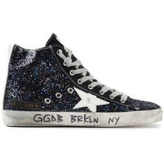 Golden Goose Deluxe Brand 'Francy' hi-top sneakers ($825) ❤ liked on Polyvore featuring shoes, sneakers, blue, blue high top sneakers, flat shoes, leather hi top sneakers, blue shoes and blue glitter shoes