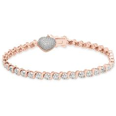 Finesque 14k Gold Overlay Diamond Accent Heart Charm Bracelet with Bow... ($20) ❤ liked on Polyvore