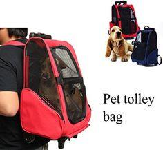 Coeus Mascota del gato del perro portador mochila con ruedas carro mochila de viaje para perros y gatos bolsa de equipaje portátil
