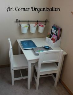 Kids Bedroom Organization in Small Spaces on a Budget Home Organizati. Kids Bedroom Organization in Small Spaces on a Budget Home Organization Create an art corner to corral coloring and craft supplies. Kids Bedroom Organization, Playroom Ideas, Kid Playroom, Organizing Toddler Rooms, Organization For Clothes, Small Home Organization, Organization Ideas, Playroom Paint, Organized Playroom