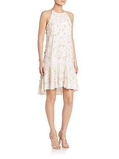 Diane von Furstenberg Kera Embellished Dress - Ivory - Size 10