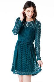 Rich color with crochet details.  New Orleans Crochet Dress #Holiday #PartyDress