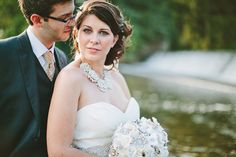 meg and bryan . wedding . prallsville mills - kate spade necklace and handmade vintage brooch bouquet