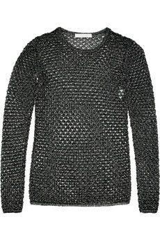 // CHLOÉ  Metallic open-knit sweater