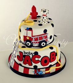 fire engine baby shower cake- omg i want this if i have a boy next! Baby Cakes, Baby Shower Cakes, Cupcake Cakes, Fire Engine Cake, Fireman Cake, Fireman Party, Fire Fighter Cake, Rodjendanske Torte, Fireman Birthday