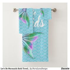 Shop Let's Be Mermaids Bath Towel Set created by ParisLaneDesign. Personalize it with photos & text or purchase as is! Spa Towels, Bathroom Towels, Bath Towel Sets, Art For Kids, Color Schemes, Wedding Gifts, Print Design, Create Yourself, Art Pieces