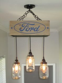 FORD Box Ceiling Light/ Chandelier with by OutoftheWdworkDesign, $195.00