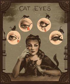 Vintage Makeup, 1930s Makeup, Vintage Eyeliner, Vintage Hair, Makeup Tips, Beauty Makeup, Goth Makeup, Prom Makeup, Makeup Trends