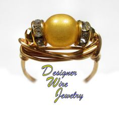 DWJ0544 Stunning Sueded Gold Lame Czech Art Glass Gold Wire Wrap Ring All Sizes
