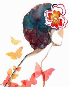 Red Flower & Butterflies / PRINT Wish we were by BellaAndBunny