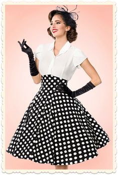 Jupe swing taille haute vintage retro rockabilly Lindy noire pois ivoire f0399aacaf9