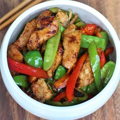Stir-Fried Chicken with Snow Peas & Bell Pepper in Chinese Garlic Sauce