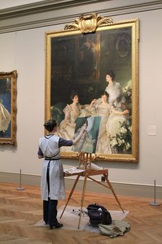Artist Maud Taber-Thomas at the MET copying John Singer Sargent - 'The Wyndham Sisters'. Photo by Xueli Zheng.