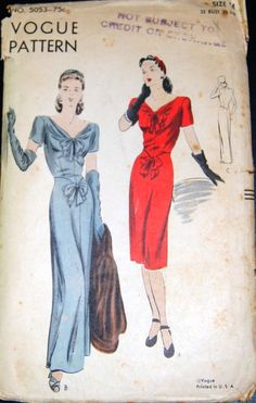 Vintage Original Vogue 40's Evening Dress Pattern No. 5053