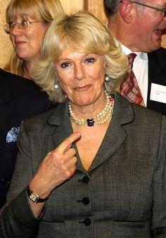 HRH the Duchess of Cornwall wearing her pearl choker with garnet (?) clasp.