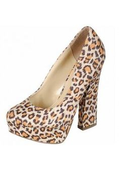 LEOPARD THICK HEELS