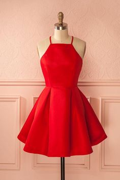 Sexy A-Line Spaghetti Straps Satin Red Homecoming Dress With Pleats