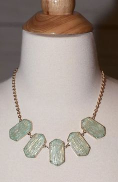 "NEW MINT GREEN GEO PATTERN BIB NECKLACE AND EARRINGS SET GOLD 18"" ADJUSTABLE NWT  